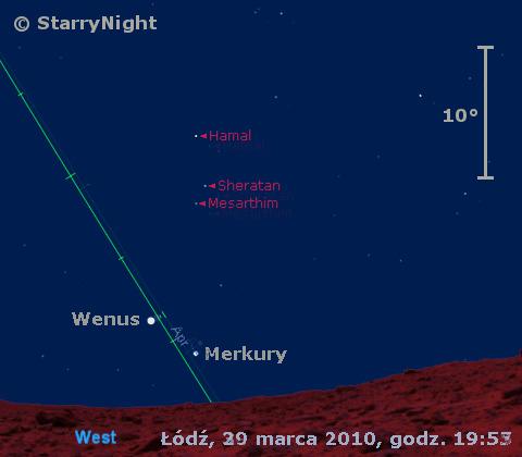 Położenie Merkurego i Wenus na przełomie marca i kwietnia 2010