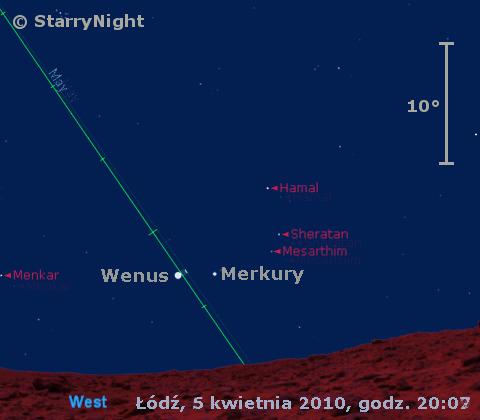 Położenie Merkurego i Wenus na przełomie w drugim tygodniu kwietnia 2010