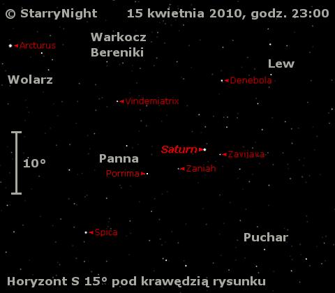 Położenie Saturna w trzecim tygodniu kwietnia 2010