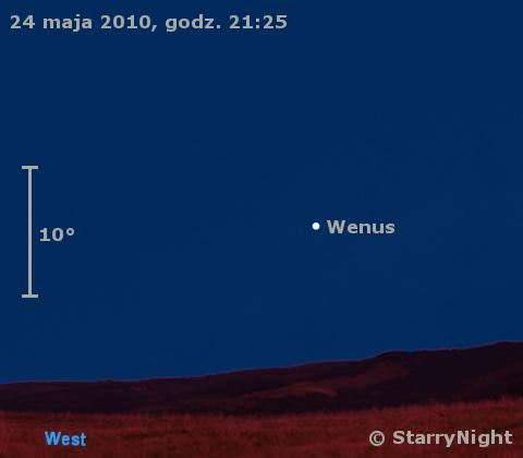 Położenie Wenus w czwartym tygodniu maja 2010