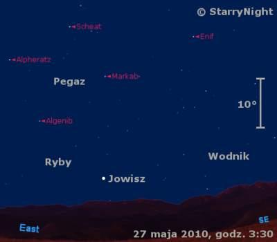 Położenie Jowisza wczwartym tygodniu maja 2010