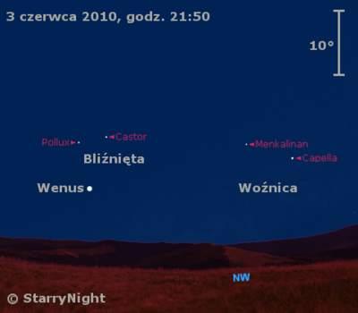 Położenie Wenus wpierwszym tygodniu czerwca 2010