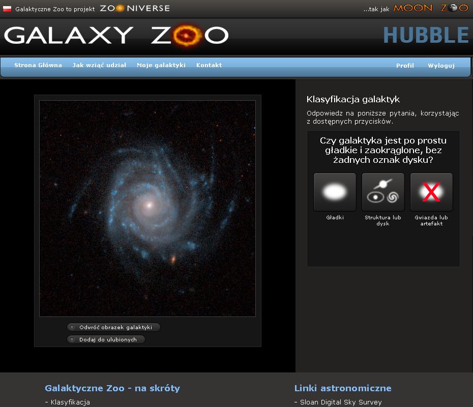 Zrzut ekranu Galaktycznego Zoo Hubble