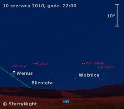 Położenie Wenus wdrugim tygodniu czerwca 2010