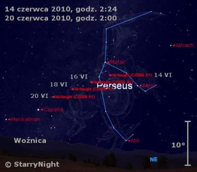 Położenie Komety McNaughta w trzecim tygodniu czerwca 2010