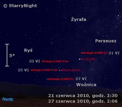 Położenie komety McNaughta wczwartym tygodni czerwca 2010