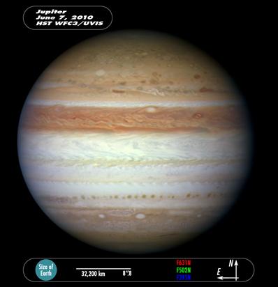 Jowisz - zdjęcie po rozbłysku 7 czerwca 2010
