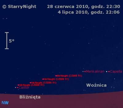 Położenie Komety McNaughta na przełomie czerwca i lipca 2010