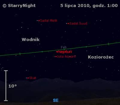 Położenie Neptuna wdrugim tygodniu lipca 2010