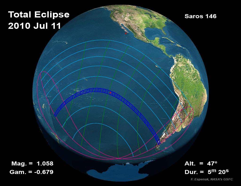 Pas całkowitego zaćmienia Słońca 11 lipca 2010