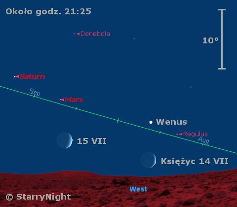 Zbliżenie Wenus z Księżycem w połowie lipca 2010