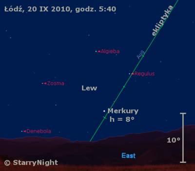 Położenie Merkurego wczwartym tygodniu września 2010