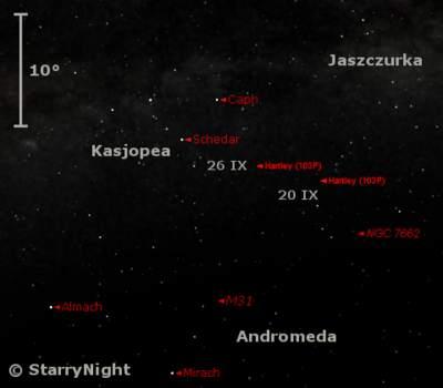 Położenie komety 103P Hartley wczwartym tygodniu września 2010