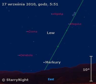 Położenie Merkurego na przełomie września i października 2010