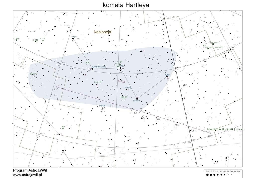 Położenie komety Hartleya na przełomie września i października 2010