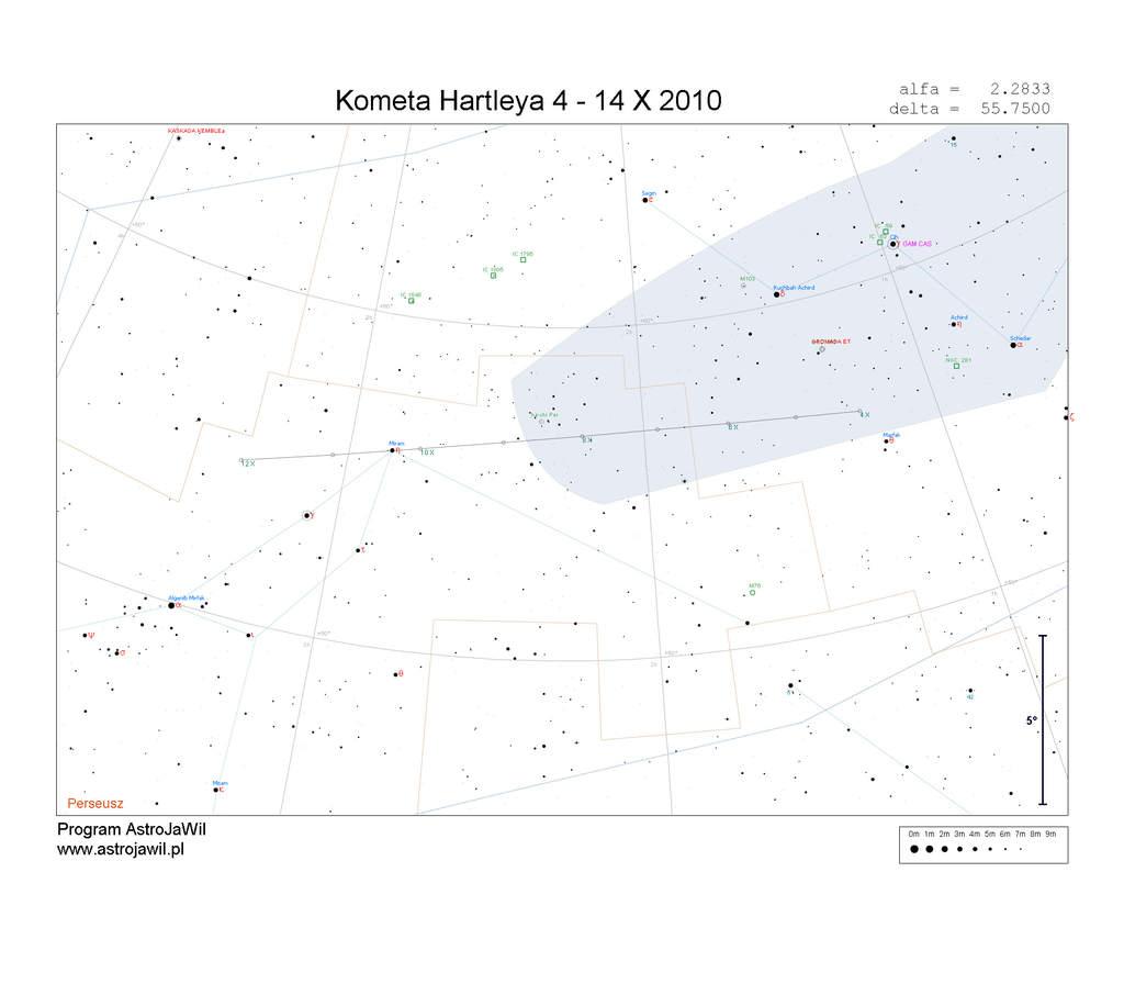 Położenie Komety Hartleya w pierwszym tygodniu października 2010