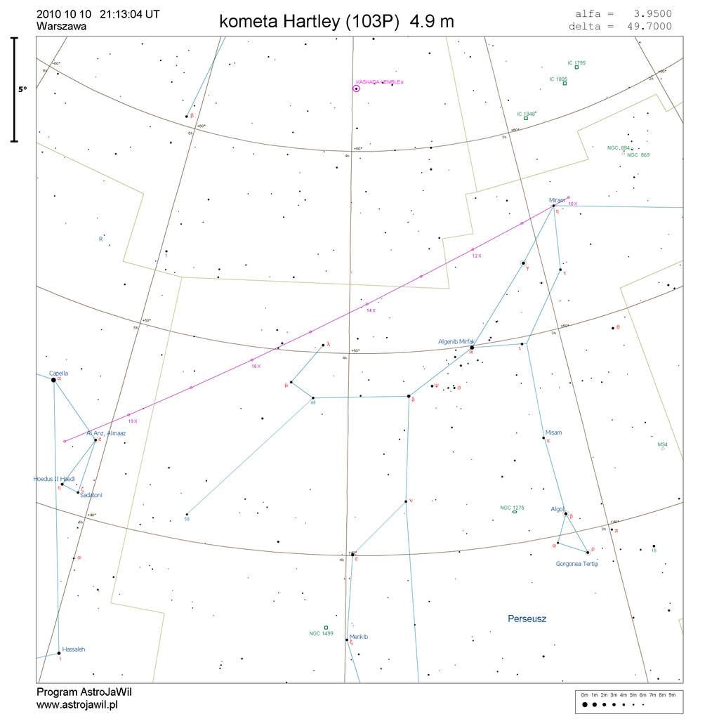 Położenie komety Hartleya w drugim tygodniu października 2010
