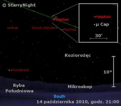 Położenie Neptuna w drugim tygodniu  października 2010