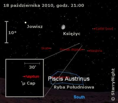 Położenie Neptuna wtrzecim tygodniu  października 2010
