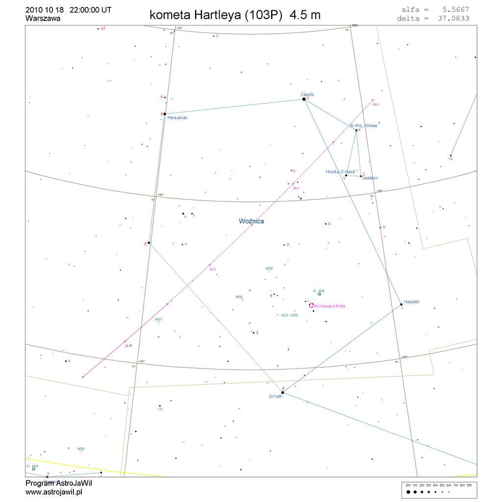 Położenie komety Hartleya wtrzecim tygodniu października 2010