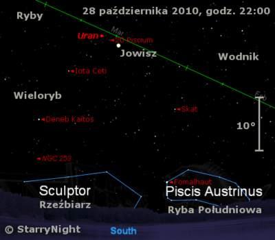 Położenie Jowisza iUrana wostatnim tygodniu  października 2010