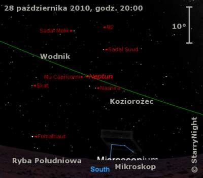 Położenie Neptuna wostatnim tygodniu  października 2010