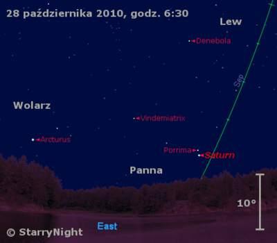 Położenie Saturna wostatnim tygodniu października 2010