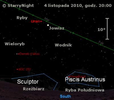 Położenie Jowisza iUrana wpierwszym tygodnia listopada 2010