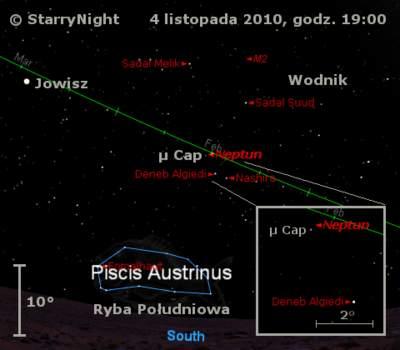 Położenie Neptuna wpierwszym tygodniu listopada 2010