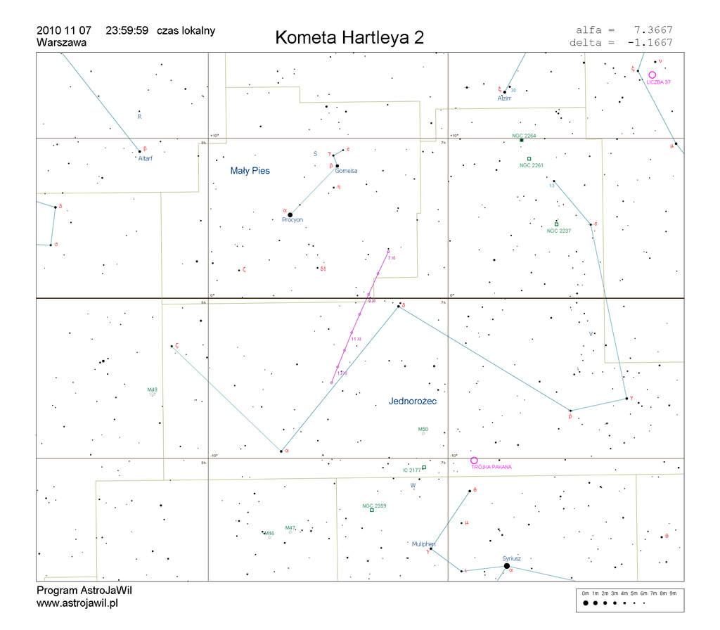 Położenie komety Hartleya 2 wdrugim tygodniu listopada 2010