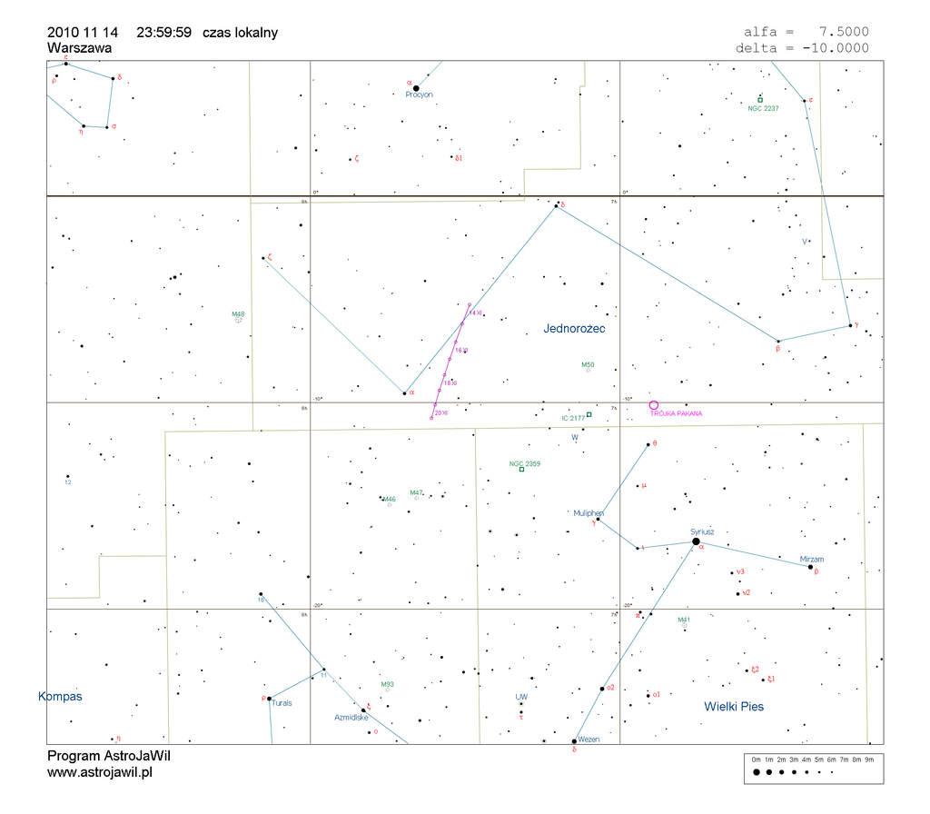 Położenie komety Hartleya 2 wtrzecim tygodniu listopada 2010