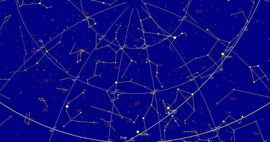 Merkury, Wenus (9 stycznia 2011, godzina 7:00)