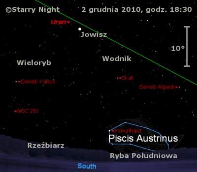 Położenie Jowisza iUrana naprzełomie listopada igrudnia 2010