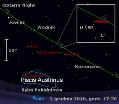 Położenie Neptuna naprzełomie listopada igrudnia 2010