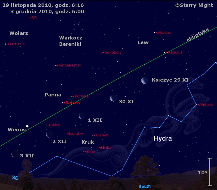 Położenie Księżyca, Wenus i Saturna na przełomie listopada i grudnia 2010
