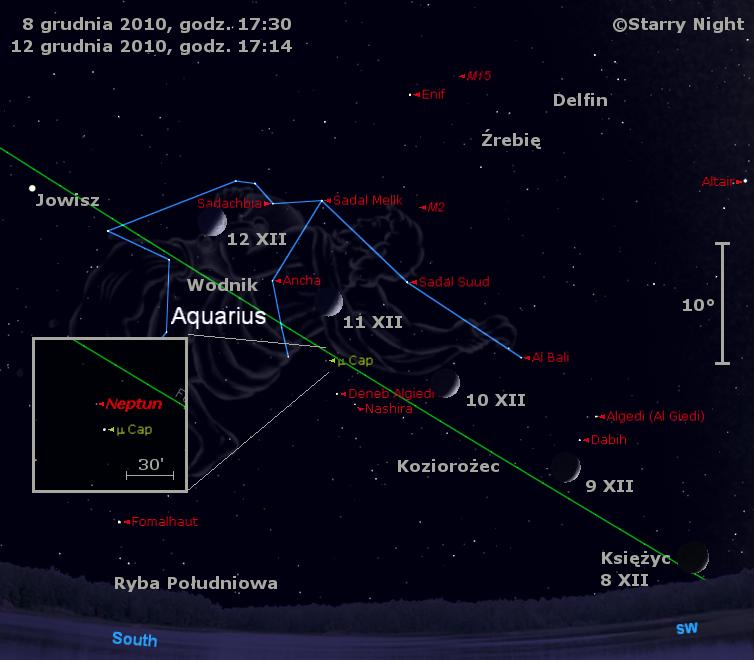 Położenie Księżyca i Neptuna w drugim tygodnia grudnia 2010