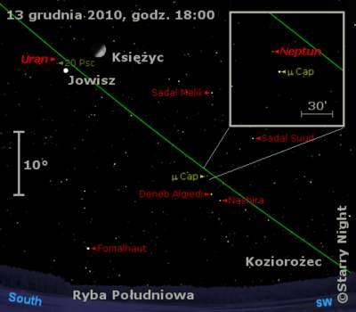 Położenie Księżyca itrzech planet olbrzymów wtrzecim tygodniu grudnia 2010