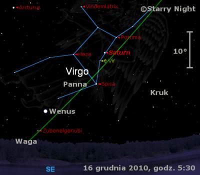 Położenie Wenus iSaturna wtrzecim tygodniu grudnia 2010