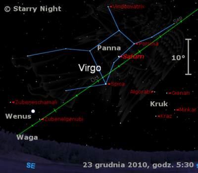 Położenie Wenus iSaturna wczwartym tygodniu grudnia 2010.