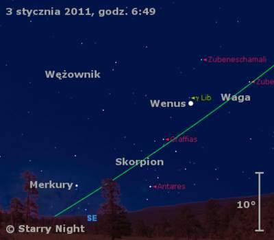 Położenie Wenus iMerkurego wpierwszym tygodniu stycznia 2011