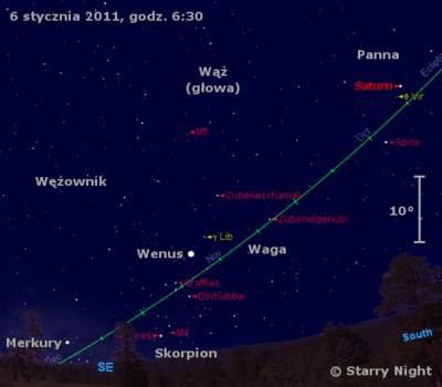 Położenie Wenus, Saturna iMerkurego wpierwszym tygodniu stycznia 2011