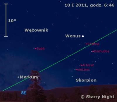 Położenie Wenus i Merkurego w drugim tygodniu stycznia 2011