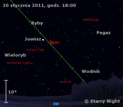 Położenie Jowisza iUrana wtrzecim tygodniu stycznia 2011