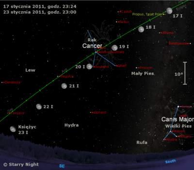 Położenie Księżyca wtrzecim tygodniu stycznia 2011