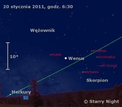 Położenie Wenus iMerkurego wtrzecim tygodniu stycznia 2011