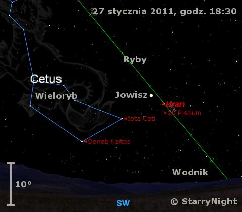 Położenie Jowisza i Urana w czwartym tygodniu stycznia 2011