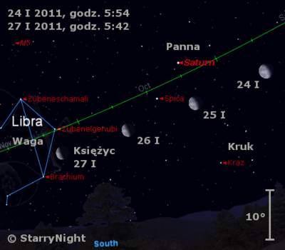 Położenie Księżyca iSaturna wczwartym tygodniu stycznia 2011