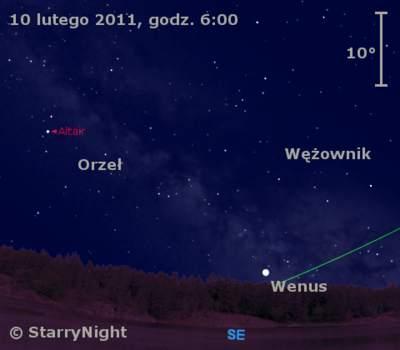 Położenie Wenus wdrugim tygodniu lutego 2011