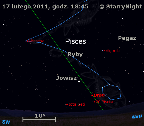 Położenie Jowisza i Urana w trzecim tygodniu lutego 2011