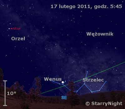 Położenie Wenus wtrzecim tygodniu lutego 2011